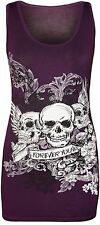 New Womens Danger Skull Sequin Fitted Vest Top 8-14