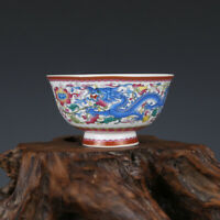 Fine Chinese Qianlong old antique Porcelain famille rose dragon Phoenix bowl