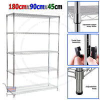 180X90X45cm Real Chrome Wire Heavy Duty Rack Metal Steel Shelving Shelve UKES