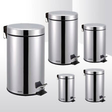 STAINLESS STEEL SILVER KITCHEN BATHROOM TOILET RUBBISH PEDAL BIN 3 5 12 20 & 30L