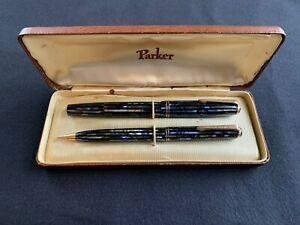 Vintage PARKER DUOFOLD Blue Striped Fountain Pen Pencil Set with box