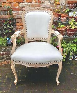 DISTRESSED FRENCH LOUIS CHATEAU STYLE CHAIR~CARVINGS~CREAM FAUX LEATHER