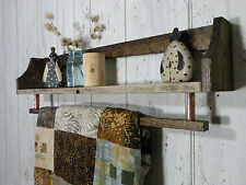 Country Rustic Reclaimed Barn Wood Wall Shelf Quilt / Towel Rack Chic