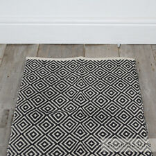 ❤️ Diamond Geometric Cotton Rug 60 x 90cm Black Scandi Boho Off White Chic