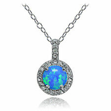 Sterling Silver Created Blue Opal and White Topaz Halo Necklace