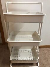 3 Tier Utility Cart Storage Rolling Cart With Casters, White