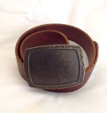"""""""Adriano Goldschmied"""" Brown Leather Belt, Size 30, Made In USA"""