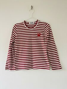 COMME DES GARCONS PLAY RED WHITE STRIPED TEE   SIZE SMALL