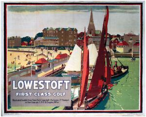 Vintage Lowestoft First Class Golf Art Print Railway Travel Poster A1/A2/A3/A4