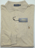 NEW $125 Polo Ralph Lauren Long Sleeve Lt Tan Shirt Mens Big NWT Cotton Heather