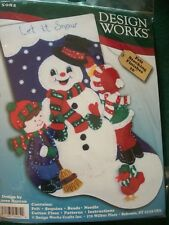 "Design Works ""Let It Snow"" Felt Embroidery Stocking Kit Size 16"""