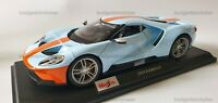 MAISTO 1:18 Scale Diecast Model Car - Ford GT Light Blue and Orange