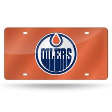 Edmonton Oilers NHL Logo Orange Mirror Look LASER License Plate FREE US SHIPPING