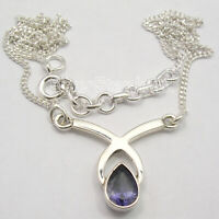 "Iolite Necklace 17.6"" Wedding Handmade Jewellery 925 Sterling Silver"