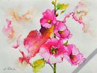 "Floral Hollyhocks ORIGINAL WATERCOLOR Painting Flowers Impressionism 9""x 12"""