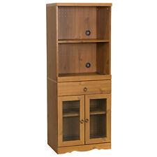 Display Shelf Cupboard Cabinet Wooden Kitchen Microwave Unit Storage Stand Brown