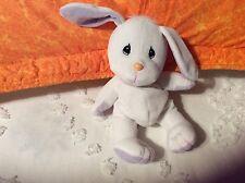 "6"" sitting Precious Moments-Tender Tails White Bunny Rabbit 1998 Enesco"