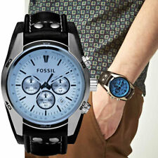 NIB Fossil CH2564 Coachman Quartz Stainless Steel and Leather Cuff Watch