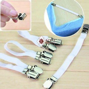 4PC Elastic Bed Sheet Clips Holders Strap Suspenders Mattress Gripper Adjustable