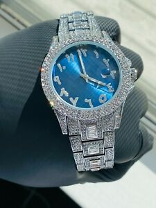 Mens Custom Fully Ice out Silver Bling Round Blue Arabic Dial Bling Watch Iced