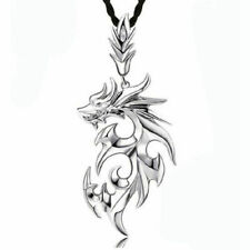 Silver Stainless Steel Dragon Pendant Men Necklace Leather Chain With I8E8