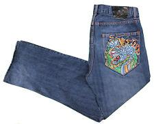 Ed Hardy Blue Jeans 36x30 Relaxed Straight Medium Dark Cotton Denim Tiger Tattoo