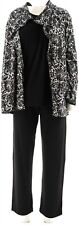 Carole Hochman Floral Lace Waffle Fleece 3-Pc Pajama Set Black 1X NEW A294081