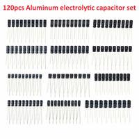 120pcs Kit 12 Values 0.22UF-470UF Aluminum Electrolytic Capacitor Assortment Set