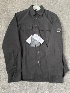 C.P Company Black Gabardine Lens Shirt, RRP £185, Size UK L. BNWT