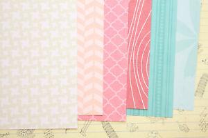 Pink Beige & Blue scrapbooking card 250gsm paper geometric fancy craft cardstock
