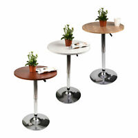 Round Bar Table Adjustable Swivel Counter Wood Top Dining Kitchen Indoor Pub