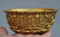 Chinese Fengshui brass wealth treasure bowl yuanbao statue bowl Incense burner