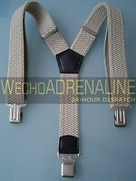 MENS MEN BRACES SUSPENDERS CREME BEIGE 40mm HEAVY DUTY SNOWBOARD CLIMBING HIKING