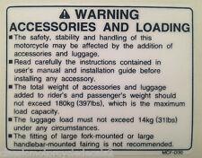 Honda SP1 SP-1 VTR1000 Accesorios y etiqueta de advertencia de precaución Etiqueta de carga