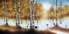 "Chinese large painting landscape crane 27x54"" watercolor feng shui brush big art"