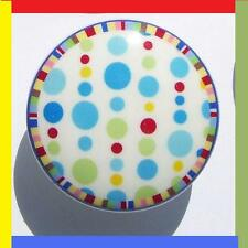 1 (ONE) COLORFUL DOTS MULTI BORDER KIDS DRESSER DRAWER  KNOB    MADE AS ORDERED