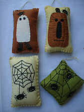 Halloween Themed PILLOW Ornaments / bowl fillers Pumpkin Spider ghost 4pc NEW