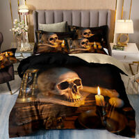 Newly Skull Candle Duvet Cover Set King Queen Size Bedding Set Pillow Shams US