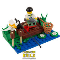 Angler Fisherman Lake River Scene - REAL LEGO - Includes Figure & Accessories
