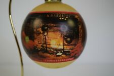 "1980 Hallmark Glass Ball Christmas Ornament ""Christmas at Home"" W/ Box Free Ship"