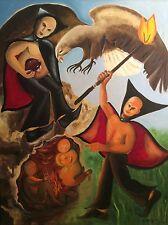 Prométhée grande huile sur toile signée G. BERGIER 118,5cm par 91,5cm