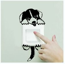 BLACK AND WHITE DOG SHAPED LIGHT SWITCH WALL DECAL MULT PART STICKER (BRAND NEW)