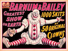 Barnum & Bailey 50 Original Clowns Vintage Circus Travel Advertisement Poster
