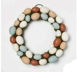 """Threshold 15.5"""" Country Farm Speckled Eggs Easter & Vines Round Wreath 🐰NWT🐰"""