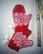 Baby mittens ladybug red white boy girl 0/6 month crochet knit