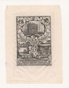 Bookplate of John Henry Wrenn~Chicago Book Collector~Engraved by Badeley~c1900