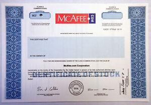 McAfee.com Corp., 2000s Odd Shares Specimen Stock Certificate, XF SC-USBN Blue