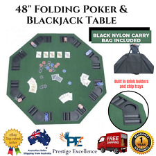 """Folding Poker Table 48"""" Blackjack Games Top with Cup Holders portable game table"""