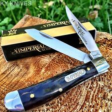 "Imperial SCHRADE Black Marble 3 1/2"" Medium Trapper Pocket Knife New! IMP16T"