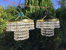 vintage  Chandelier with faceted drops 2 Available Price For 1
